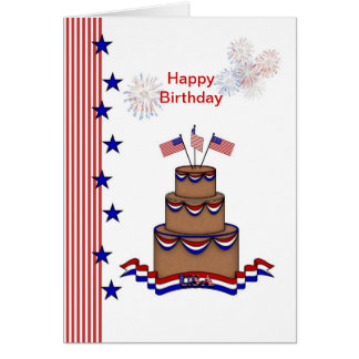 Birthday 4th of July.USA flag, stars,stripes,cake Card