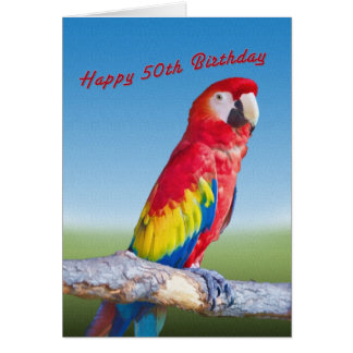Birthday, 50th, Macaw Parrot Card