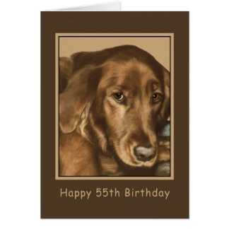Birthday, 55th, Golden Irish Dog Card