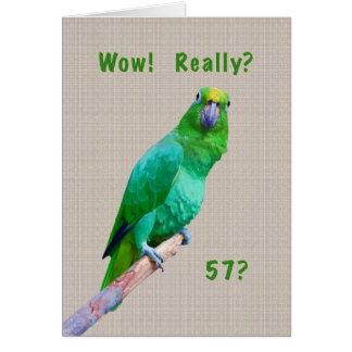 Birthday, 57th, Green Macaw Parrot on a Limb Greeting Card