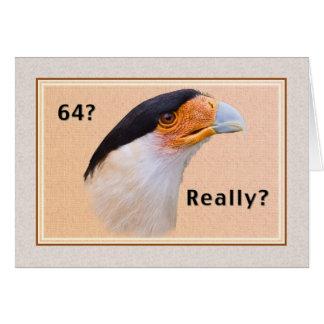 Birthday, 64th, Crested Caracara Bird Card