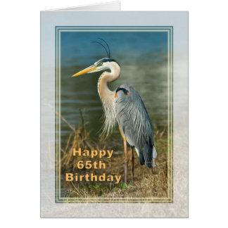 Birthday, 65th, Great Blue Heron Bird Card