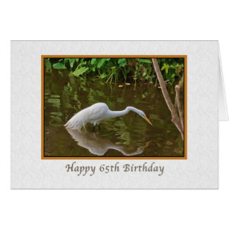 Birthday, 65th, Great Egret Fishing at the River Card