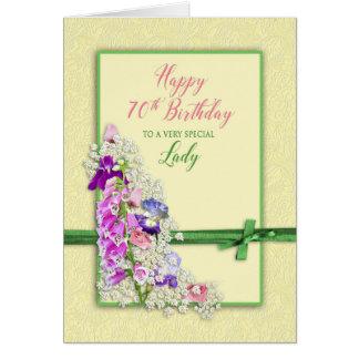 BIRTHDAY - 70th - GARDEN FLOWERS,GREEN BOW Card