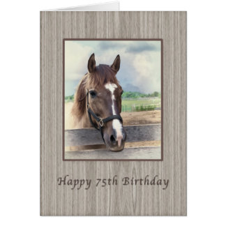 Birthday, 75th, Brown Horse with Bridle Card