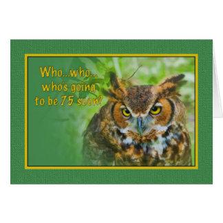 Birthday, 75th, Great Horned Owl Bird Card