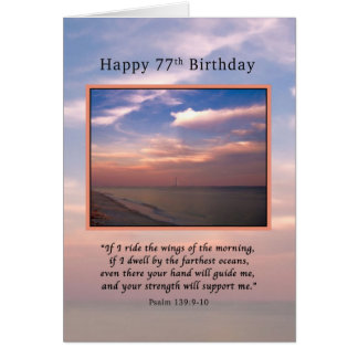 Birthday, 77th, Sunrise at the Beach, Religious Card