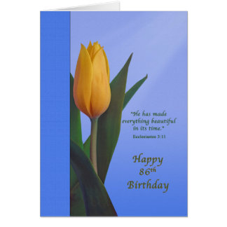 Birthday, 86th, Golden Tulip Flower Greeting Card