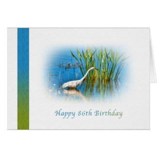 Birthday, 86th, Great Egret at the Pond Greeting Card