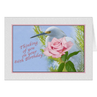 Birthday, 86th, Pink Rose and Snowy Egret Bird Greeting Card