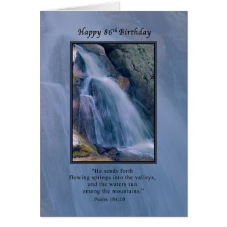 Birthday, 86th, Religious, Mountain Waterfall Card