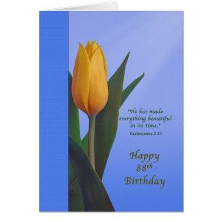 Birthday, 88th, Golden Tulip Flower Card