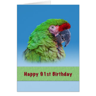 Birthday, 91st, Green Parrot Greeting Card