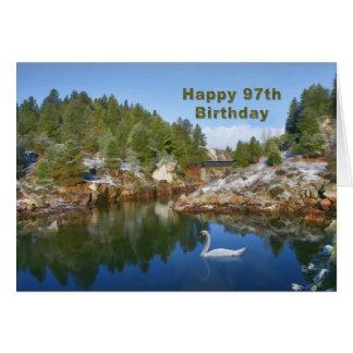 Birthday, 97th, Mountain Lake, Swan Card