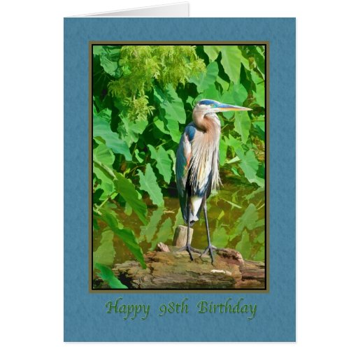 Birthday, 98th, Great Blue Heron Greeting Card