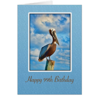 Birthday, 99th, Brown Pelican on Post Card