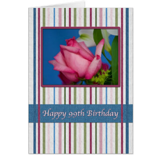 Birthday, 99th, Red Rose Greeting Card