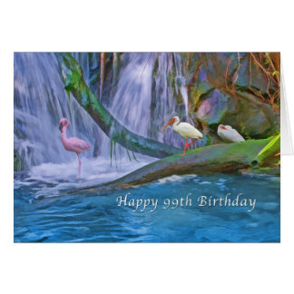 Birthday, 99th, Tropical Waterfall, Birds Card