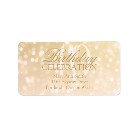 Birthday Address 40th Gold Bokeh Sparkle Lights Label