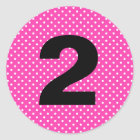 Birthday Age Hot Pink with White Polka Dots Classic Round Sticker