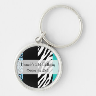Birthday - Animal Print, Zebra, Leopard - Blue Keychain