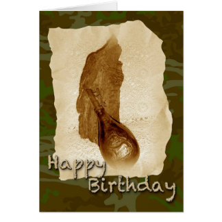 Birthday Antique Leather Powder Flask Card