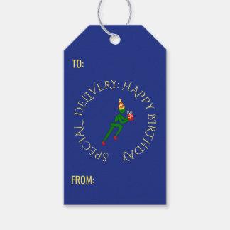 Birthday athlete custom text green blue gift tags