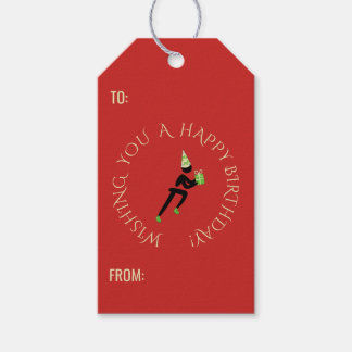 Birthday athlete custom text red gift tags