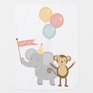 Birthday Baby Blanket Elephant Monkey Balloons