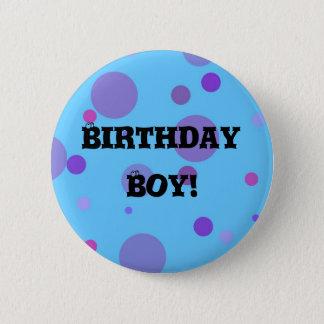 Birthday Badge Blue Polka Dots 2 Inch Round Button