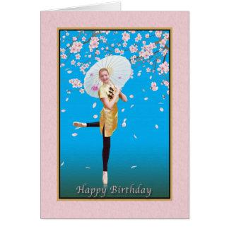 Birthday, Ballerina, Cherry Blossoms Card