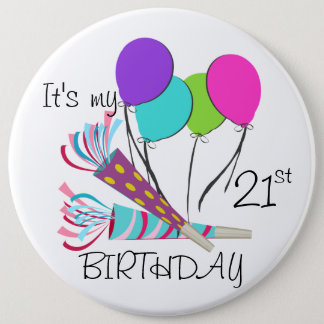 Birthday Balloons and Party Horns 6 Inch Round Button