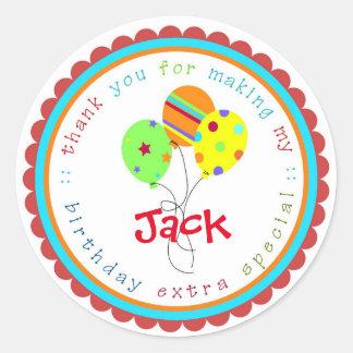 Birthday Balloons Birthday Party favor Tags Round Sticker