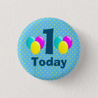 Birthday, Balloons, Blue Polka Dots Customizable 1 Inch Round Button