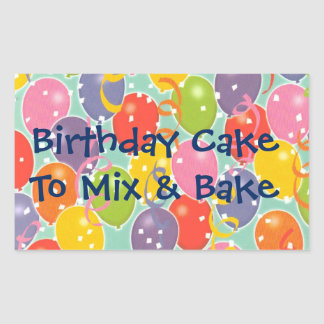 Birthday Balloons Cake Mix Label