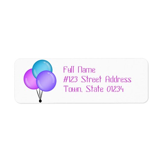 Birthday Balloons Mailing Labels