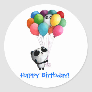 Birthday Balloons Panda Bear Round Sticker