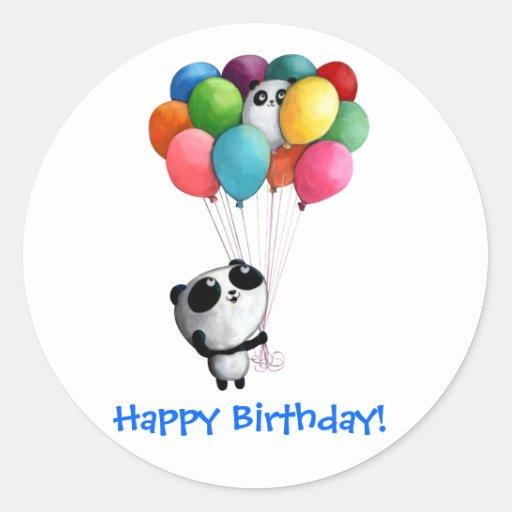 Birthday Balloons Panda Bear Round Stickers