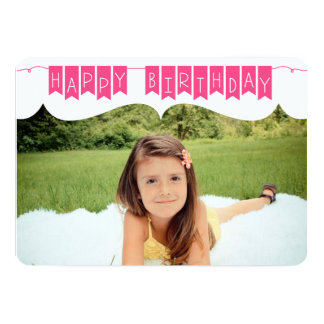 "Birthday Banner + Photo 5"" X 7"" Invitation Card"