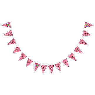 Birthday Banner--Red Gingham Bunting Flags