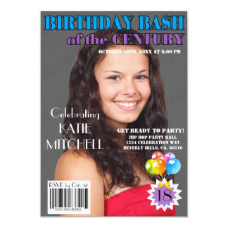 Birthday Bash Blue Purple Magazine Cover Any Age Card