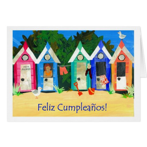 Birthday Beach Huts Card - Spanish Greeting