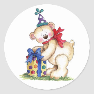 Birthday Bear Gift Classic Round Sticker