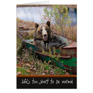 Birthday Bear in boat Card