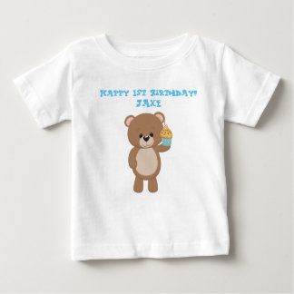Birthday Bear With Cup Cake Baby T-Shirt