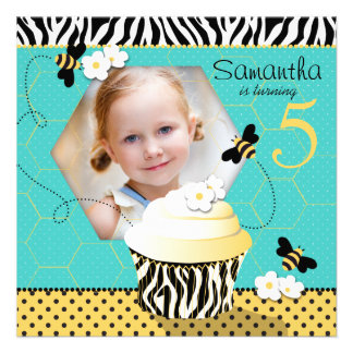 Birthday Bee Cupcake Birthday Custom Announcements