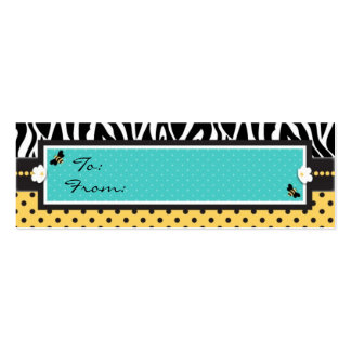 Birthday Bee Skinny Gift Tag Double-Sided Mini Business Cards (Pack Of 20)