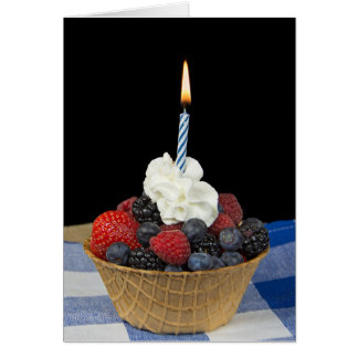 birthday berries and candle in waffle bowl card