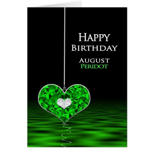 Birthday - Birthstone - August - Peridot Card