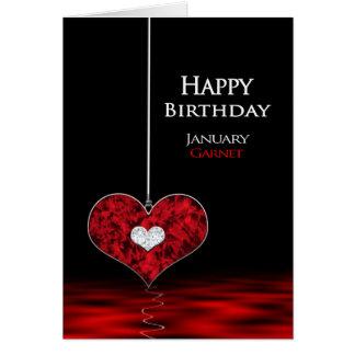 Birthday - Birthstone - January - Garet/Red Card